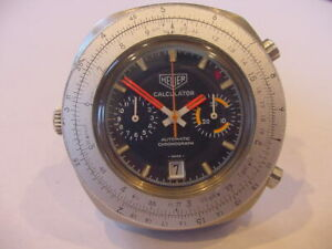 1970s HEUER CALCULATOR Slide Rule cal.12 CHRONOGRAPH BLUE DIAL AUTOMATIC 110.633