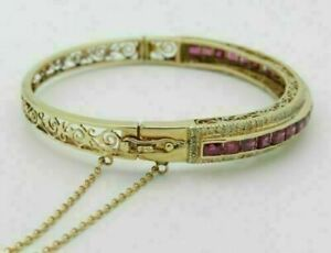 "Antique 14K Yellow Gold Over 5.33Cttw Ruby & Round Diamond Bangle 7.5"" Bracelet"