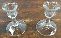 Set of 2 Votive Cup or Taper Candle Holders Crystal Clear Glass Simple Design