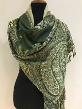 Pashmina Winter Dark Olive Floral Design Shawl Scarf Wrap Large Size