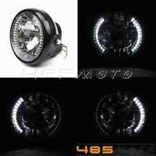 """Motorcycle 7"""" H4 Headlight Projector With LED Turn Signal White Light For Harley"""