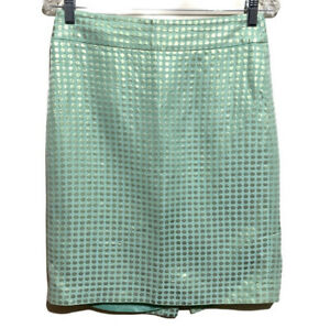J. Crew Mint Green Metallic Gold Dots Pencil Skirt