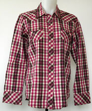 Ariat Pink & Brown Metallic Plaid Snap-Front Long Sleeve Western Shirt Women's L