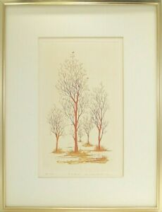 Japanese Woodblock Print GINKGOS & BIRDS IN SPRING, Framed, Signed, Numbered