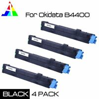 4 PK Black Toner Cartridge B4400 43502301 For Okidata Oki B4550 B4600 High Yield