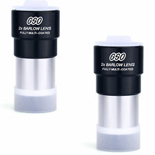 """2pcs New GSO 1.25"""" (31.7mm) 2X Barlow Lens or Astronomy Telescope Eyepiece"""