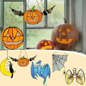 Halloween Stained Glass Art Decoration Pendant Multi-Style Double-Sided Ornament