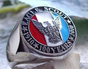 [ SIZE 12.5 BOY SCOUTS ] RING EAGLE SCOUT OF AMERICA SILVER PLATED PIN PATCH