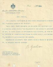 Lettera Autografo Giuliano Balbino Ministro Educazione Governo Mussolini 1924
