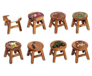 Kinderhocker Wooden Stool for Kids Acacia Stool Various Motifs