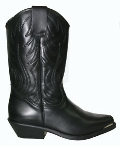 Ladies Cowboy Western Boots Black Genuine Leather Nevada