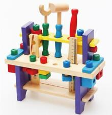 Wooden Kids Construction Tool Workbench Educational Child Carpenter Pretend Play
