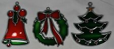 3 Vintage Christmas Suncatchers Ornaments