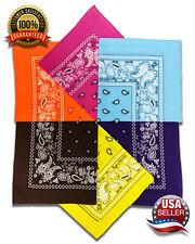 3 Pack Bandana 100% Cotton Double Sided Paisley Scarf Handkerchief Wristband