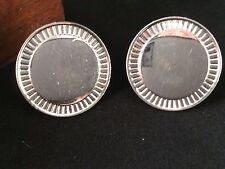 Vintage CORO Cufflinks Large Silver Toned Discs Pegasus Coin Disc Tux
