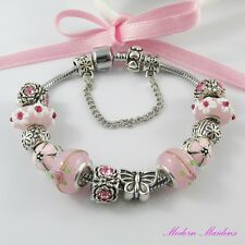Pink Flower European Snake Chain Bracelet 12 Beads & Charms 17cm Safety Chain