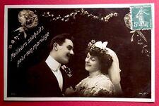 CPA. 1907. Meilleurs Souhaits pour ton MARIAGE. COUPLE. Bouquet de Mariée.