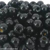 *100* BLACK JEWELLERY MAKING CRAFT ROUND Wooden 10mm Beads W97