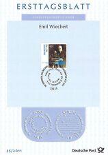 BRD 2011: Emil Wiechert! Ersttagsblatt der Nr. 2897 mit Bonner Stempel! 1707