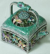 Turquoise Miniature Teapot Pewter w Diamantes Trinket Jewellery Box NEW in Box