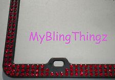 3Row Inset Dk Red Siam Rhinestone on Black License Frame with Swarovski Crystals