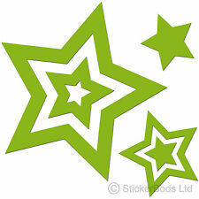 36 LIME GREEN STAR STICKERS DECALS for Car | Wall | Home t6