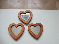 "Set of 3 Vintage Wood framed Heart Accent Mirrors Home Interiors 5"" t x 4 3/4"" w"