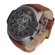 Fashion Men Super Big Dial Leather Strap Black Sport Analog Quartz Wrist Watch