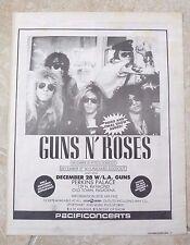 Guns N Roses Original 12-28-87 Perkins Palace Rare Concert Poster Ad Framed