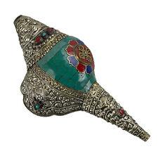 Conque tibetaine turquoise-Dungdkar-Instrument de musique-dorje Tibet conch 6668