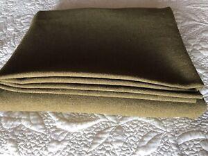 "Vintage 1940's WWll Genuine US Army Olive Green  Heavy Wool Blanket 75"" X 61"""