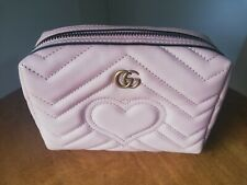 GUCCI Duble G Marmont Embossed Heart Chevron Cosmetic Pouch Case Dusty Pink