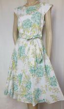 Laura Ashley Sommerkleid 40 kl. 42 Hochzeit weiß grün mint Blumen Baumwolle