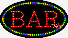 """New """"Bar"""" 27x15 Oval Solid/Animated Led Sign w/Custom Options 24149"""
