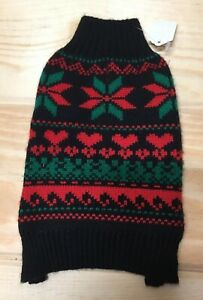 New Zack & Zoey Classic Holiday Christmas Dog Sweater XS Black/Red/Green