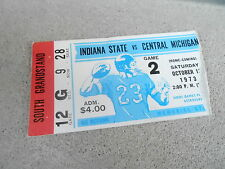 OCT 13 1973 NCAA football ticket stub INDIANA STATE vs CENTRAL MICHIGAN