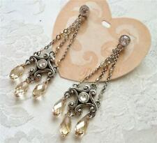 Brighton Earrings Amber & Clear Swaroski Crystals post drop/dangle New