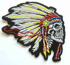 Indianer Totenkopf Aufnäher / Aufbügler Indian chief head skull patch biker vest