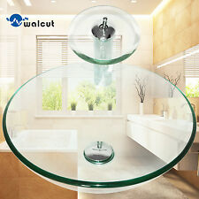 Round Bathroom Tempered Glass Basin Set Vessel Vanity Sink Bowl With Faucet New