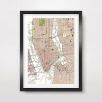 MANHATTAN BROOKLYN MAP NEW YORK CITY ART PRINT POSTER Diagram Decor Wall Picture