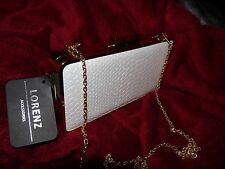BNWT ivory Snake Grain PU Clutch Bag with Clip Lock wedding party prom new