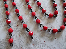 4mm Opaque Red Bead Chain - Glass Beads on Jet Black Rosary Chain - Qty 18""