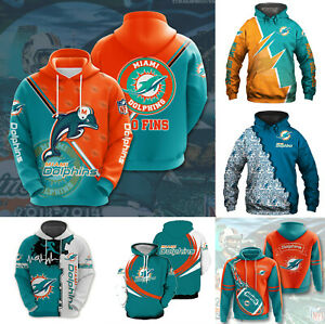 Miami Dolphins Mens Hoodie Pullover Sweatshirt Sports Hooded Jacket Casual Coats
