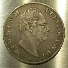 British India 1835 One Rupee Silver Coin King William IIII- KM # 450- Incused F