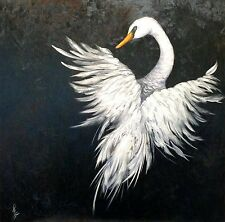 """""""Angel in Flight"""" Original Oil Painting swan bird wings feather feathers"""