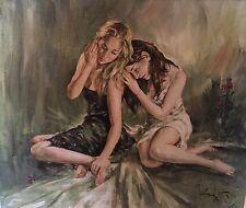 """RARE LARGE ORIGINAL GORDON KING """"Empathy Blond brunette girls women Oil PAINTING"""