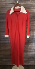 Vintage 1960s 70s Women's Jumpsuit Zippered Red and Cream Big Collar