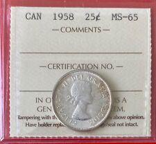1958 25 Cent Canada Twenty Five Cents Quarter Coin - ICCS MS-65