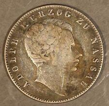 1842 German State Nassau 1/2 Gulden Silver Nice Rare ** Free U.S. Shipping **