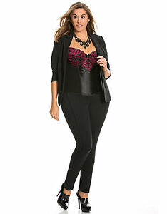 NEW LANE BRYANT CACIQUE BLACK & PINK EMBROIDERED LACE CUP CORSET SZ 18/20